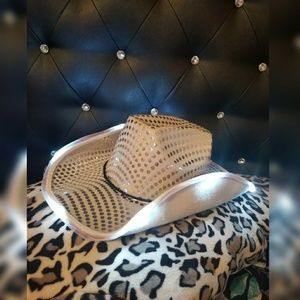silver sparkle led light cowgirl hat